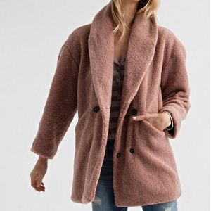 NWT Lucky Brand Pink Teddy Bear Faux-Fur Jacket XS
